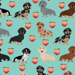 doxie peach fabric cute peach emojis fabric dachshunds fabric