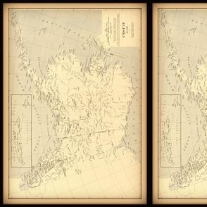 Alaska vintage map, small