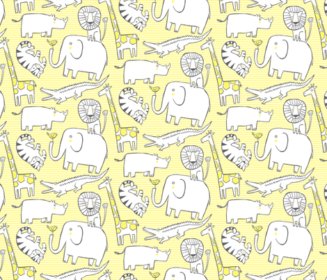 Lullaby Jungle Yellow (small) fabric by leanne on Spoonflower - custom fabric