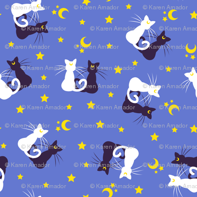 Scattered Moon Kitties - Teeny Blue