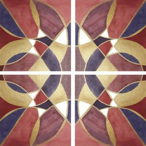 Watercolor Tile with gold