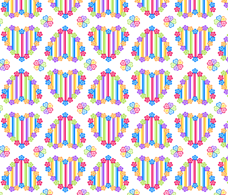Rainbow Heart on White fabric by karwilbedesigns on Spoonflower - custom fabric