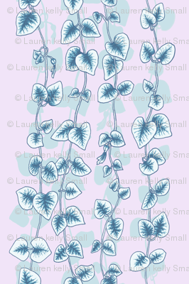 Chain of Hearts, Blue on Lilac