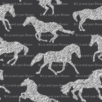 Pen Sketch Horses // Charcoal