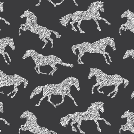Pen Sketch Horses // Charcoal fabric by thinlinetextiles on Spoonflower - custom fabric