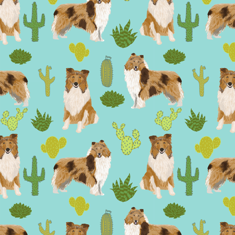 rough collie cactus fabric cute dogs pet dog cacti fabric best collie fabric for sewing projects fabric by petfriendly on Spoonflower - custom fabric