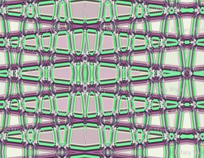 Geometrical Trellis in mauve and green, horizontal, large