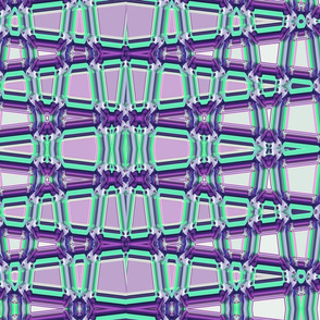 Geometrical Trellis in Purple and Aquamarine, horizontal, large