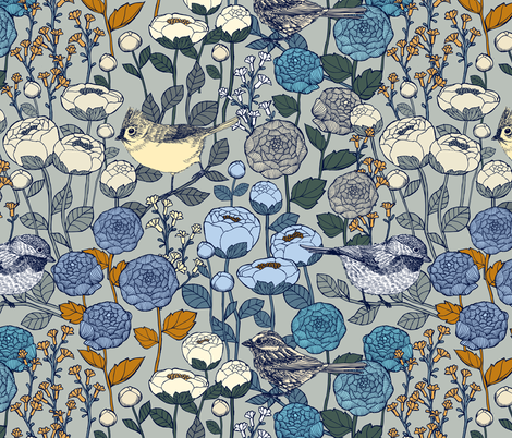 Winter Garden - Frost fabric by ceciliamok on Spoonflower - custom fabric