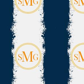 Tie Dye 12x12 in darkest navy Gray mist Personalized SMG