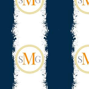 Tie Dye  Combo M orange SG gray12x12 in darkest navy orange Personalized SMG