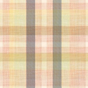 Pink Plaid on faux linen