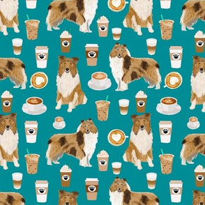 rough collie coffee fabric, cute dogs and coffees fabric print, best dogs fabric design cute rough collies