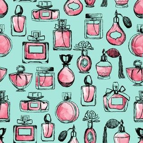 perfume // vintage pink and mint perfume bottles cute beauty girls fabric