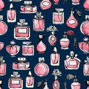 perfume // navy blue and pink perfume bottles vintage perfume bottles beauty makeup girls sweet fashion illustration pattern print