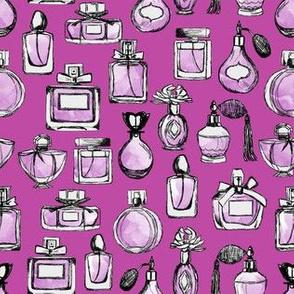 perfume // vintage perfume bottles girls purple watercolor fashion illustration pattern fashion fabric perfume bottles fabric