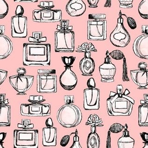 perfume // vintage beauty perfume bottles fashion illustration pattern andrea lauren fashion print andrea lauren fabric