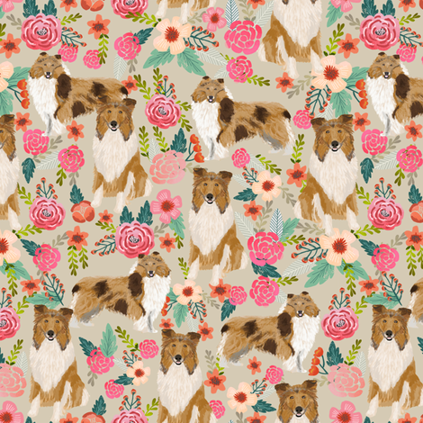 rough collie florals fabric cute collies design best collie dog fabric floral vintage florals les fleurs fabric fabric by petfriendly on Spoonflower - custom fabric