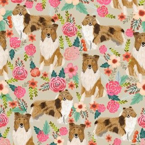 rough collie florals fabric cute collies design best collie dog fabric floral vintage florals les fleurs fabric