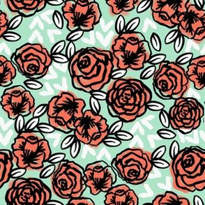 roses // mint coral roses half-size smaller version coral and mint peach and mint girls florals fabric cute floral les fleurs vintage style rose fabric