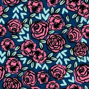 roses // navy and pink roses vintage style floral fabric rose fabric valentines fabric andrea lauren fabric andrea lauren design
