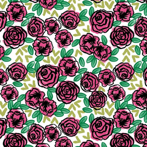 roses // pink and green roses florals floral fabric cute rose design vintage florals fabric