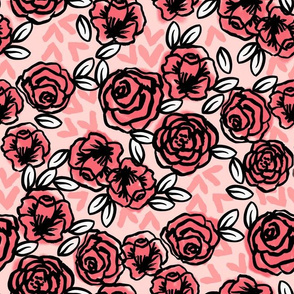 roses // vintage florals pink roses valentines fabric cute rose design les fleurs fabric