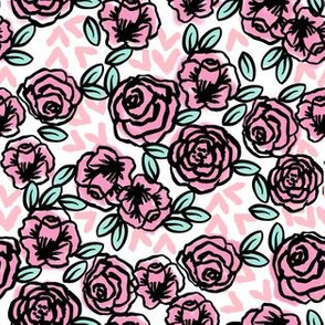 roses // vintage rose floral fabric cute roses fabric pink rose fabric best vintage florals rose fabric