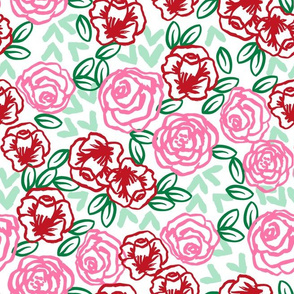 roses // pink and red roses fabric red rose fabric valentines fabrics girls floral fabric cute roses florals