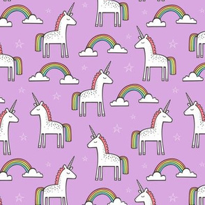 Cute Unicorn Rainbow in Purple 1,5 inch wide