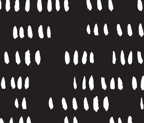 White on Black Painted Brush Hash Mark fabric by thejonellejones on Spoonflower - custom fabric