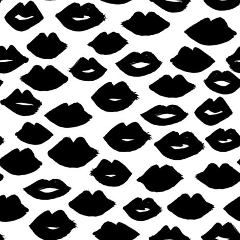 lips // black and white lipstick lips fabric cute beauty makeup girls lipstick fabric valentines day fabric print pattern andrea lauren fabric andrea lauren design fabric by andrea_lauren on Spoonflower - custom fabric