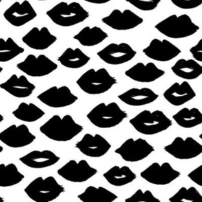 lips // black and white lipstick lips fabric cute beauty makeup girls lipstick fabric valentines day fabric print pattern andrea lauren fabric andrea lauren design