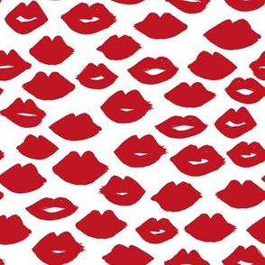 lips // red lips fabric cute lips pattern lipstick print pattern fabric fashion print andrea lauren fabric andrea lauren design