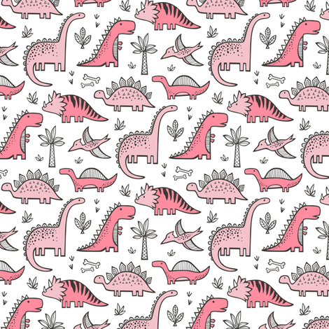 Dinosaurs in Pink 1,5 inch wide fabric by caja_design on Spoonflower - custom fabric