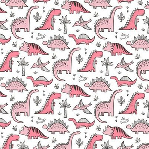 Dinosaurs in Pink 1,5 inch wide