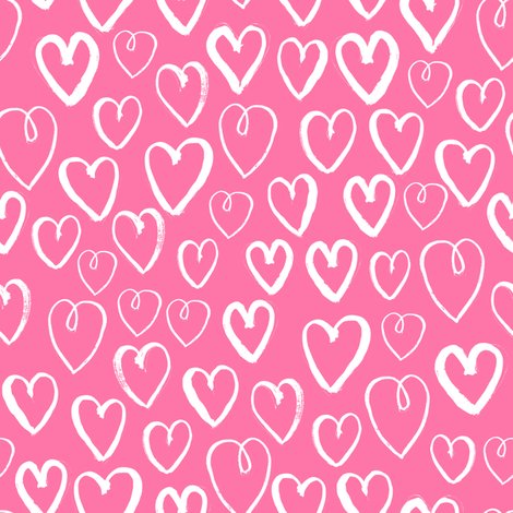 hearts // pink hearts fabric heart fabric valentines print pattern illustration heart girls nursery baby cute valentines day design fabric by andrea_lauren on Spoonflower - custom fabric