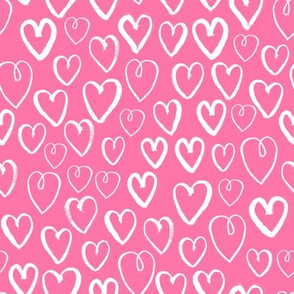 hearts // pink hearts fabric heart fabric valentines print pattern illustration heart girls nursery baby cute valentines day design