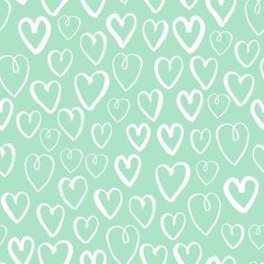 hearts // mint heart fabric cute hearts design print pattern illustration mint hearts pattern andrea lauren fabric andrea lauren design