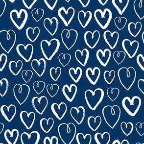 hearts // navy blue hearts fabric love hearts pattern print andrea lauren fabric
