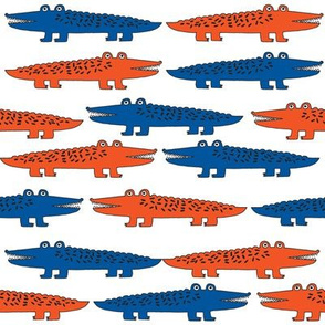 alligator // blue and orange florida gator fabric alligators fabric crocodiles fabric reptiles