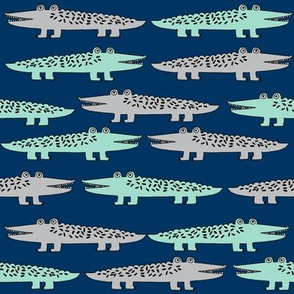 alligator // mint grey navy blue reptiles fabric alligators fabric boys nursery design kids fabric andrea lauren fabric