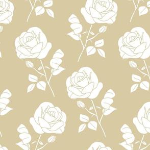 White on Greige Roses