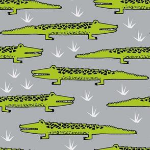 crocodiles // crocodile alligator fabric cute reptiles pattern print andrea lauren fabric andrea lauren design