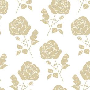 Greige Roses on White