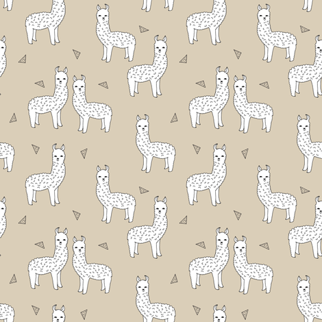 Alpaca neutral khaki llama fabric cute alpaca design for Cute baby fabric prints