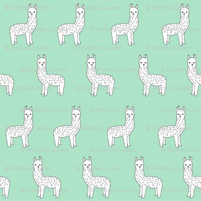 Alpaca Mint Green Alpaca Fabric Cute Llama Design Best