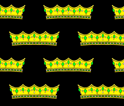 Green Tiara 2 -Black Background fabric by essieofwho on Spoonflower - custom fabric