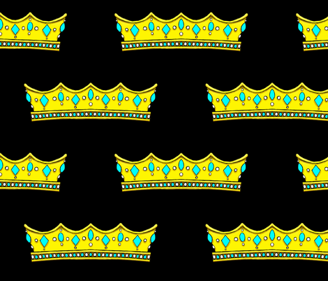 Turquoise Tiara 2- Black Background fabric by essieofwho on Spoonflower - custom fabric