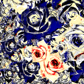 Roses - navy, cream & red